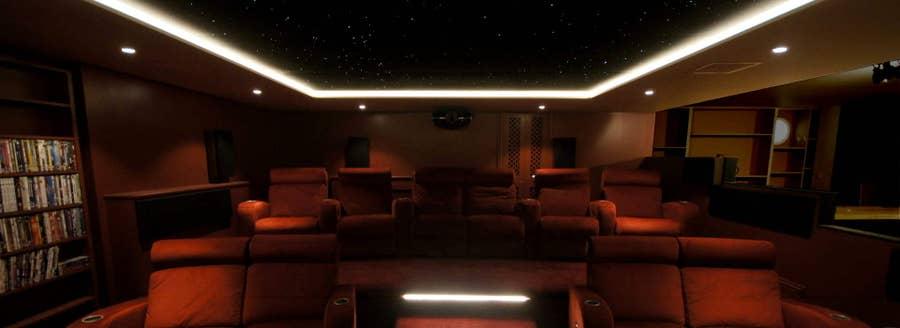 Plush red velvet home theater