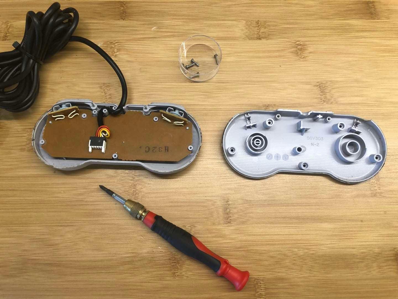 A disassembled Super Nintendo controller