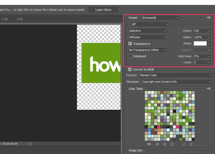 Export GIF Photoshop