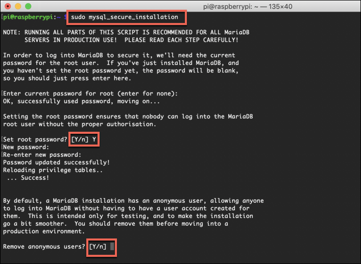 Additional configuration steps for a MariaDB installation on a Raspberry Pi