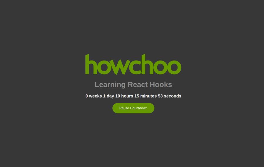 Custom React hook countdown clock example