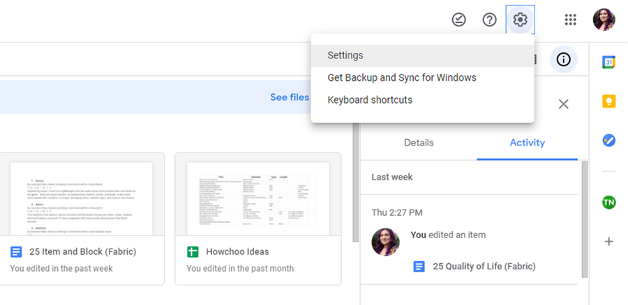how to open settings google drive