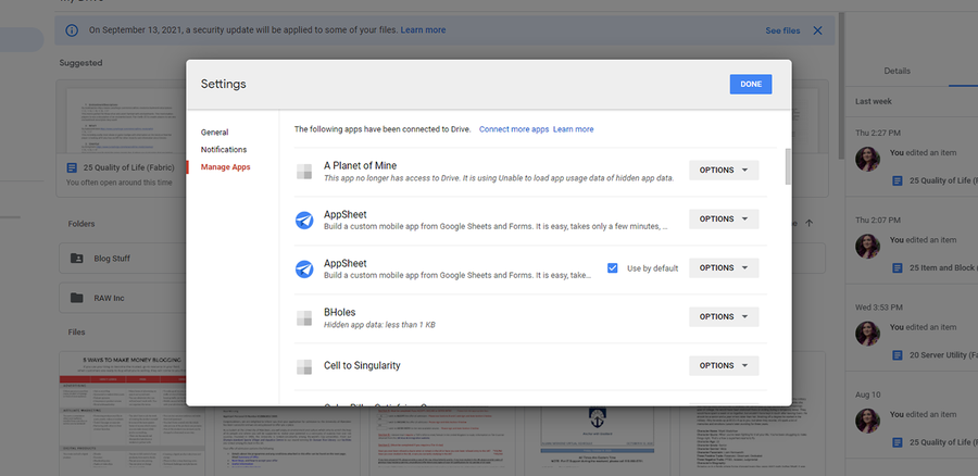 how to manage apps google drive