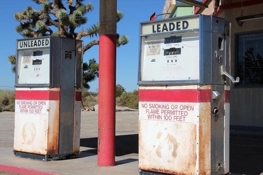 Leaded gasoline station