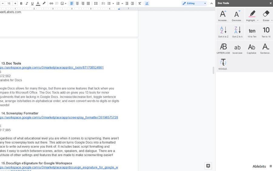 doc tools google workspace addons