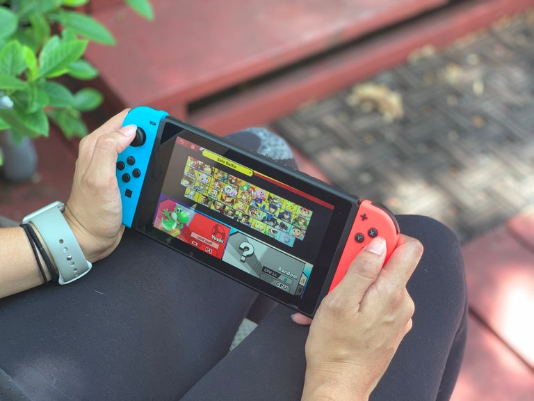 Playing a Nintendo Switch outside