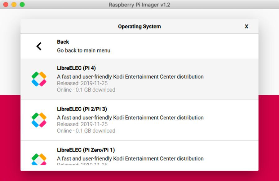 Installing LibreELEC through Raspberry Pi Imager