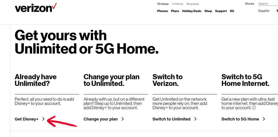 Free Disney+ Verizon