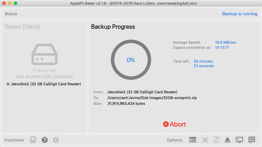 Backing up SD card in ApplePi-Baker