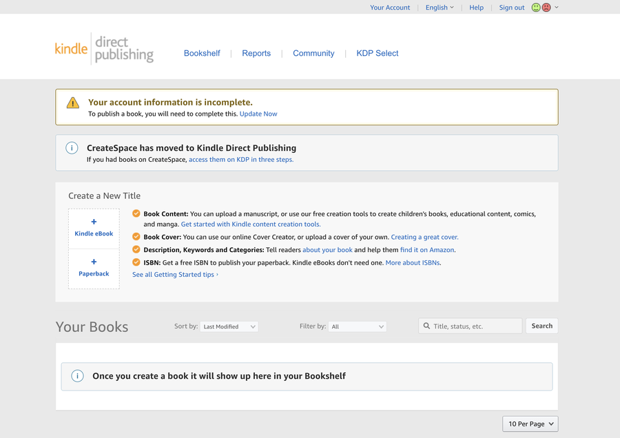 Kindle Bookshelf page.