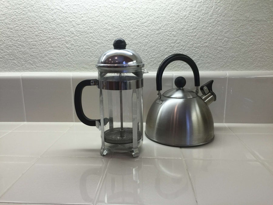 french press on a counter