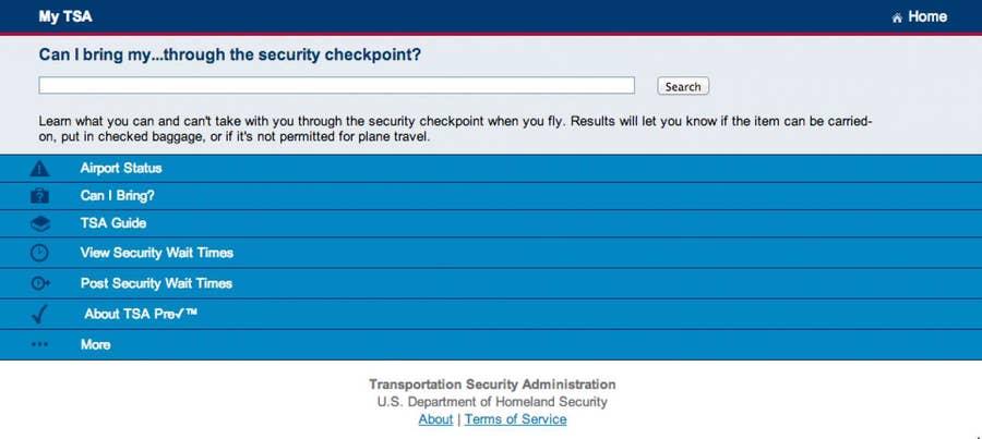 Access TSA's online tool