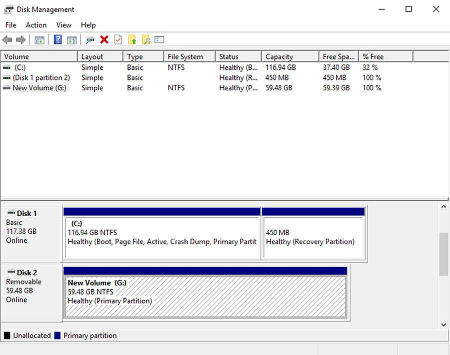 format hard drive disk management
