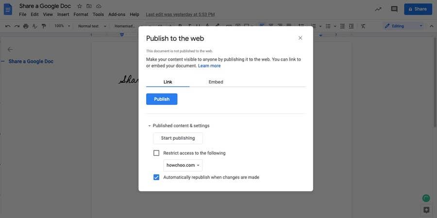 publish to the web Google Docs