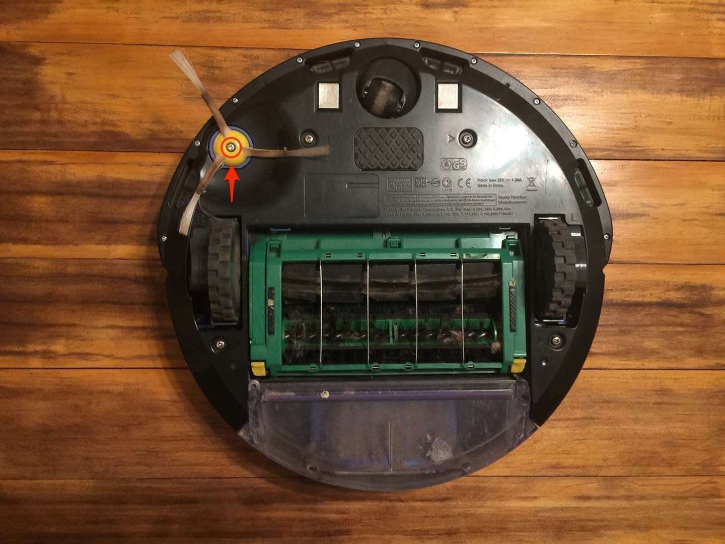 Roomba side brush removal