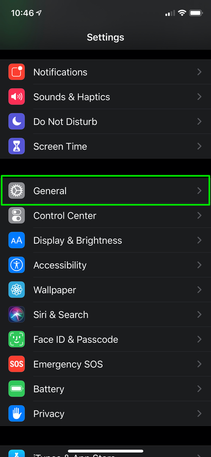 iOS reset network settings general