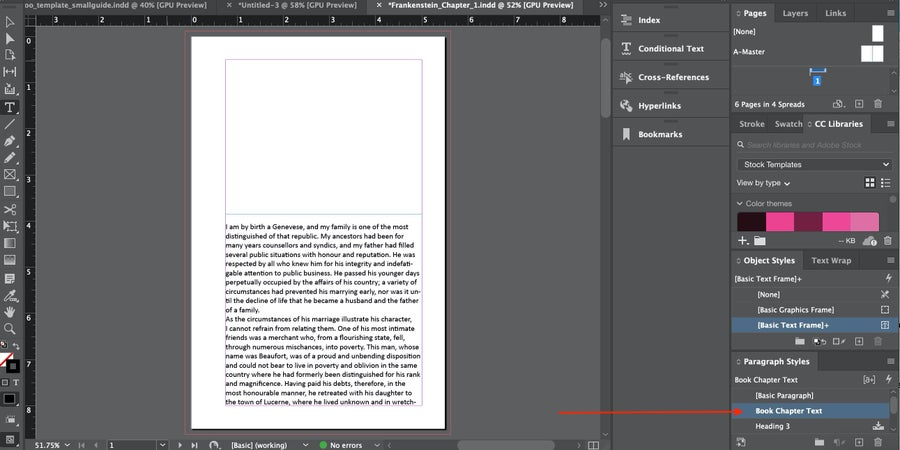 Arrow to Book Chapter Text InDesign
