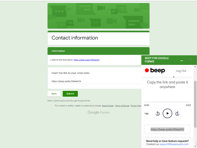 google forms addon beep voice notes