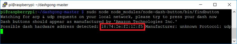 Find your Amazon Dash Button's hardware address