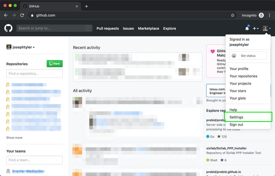GitHub account settings.