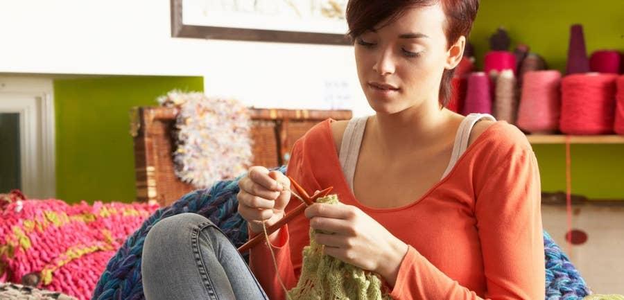 Girl Knitting