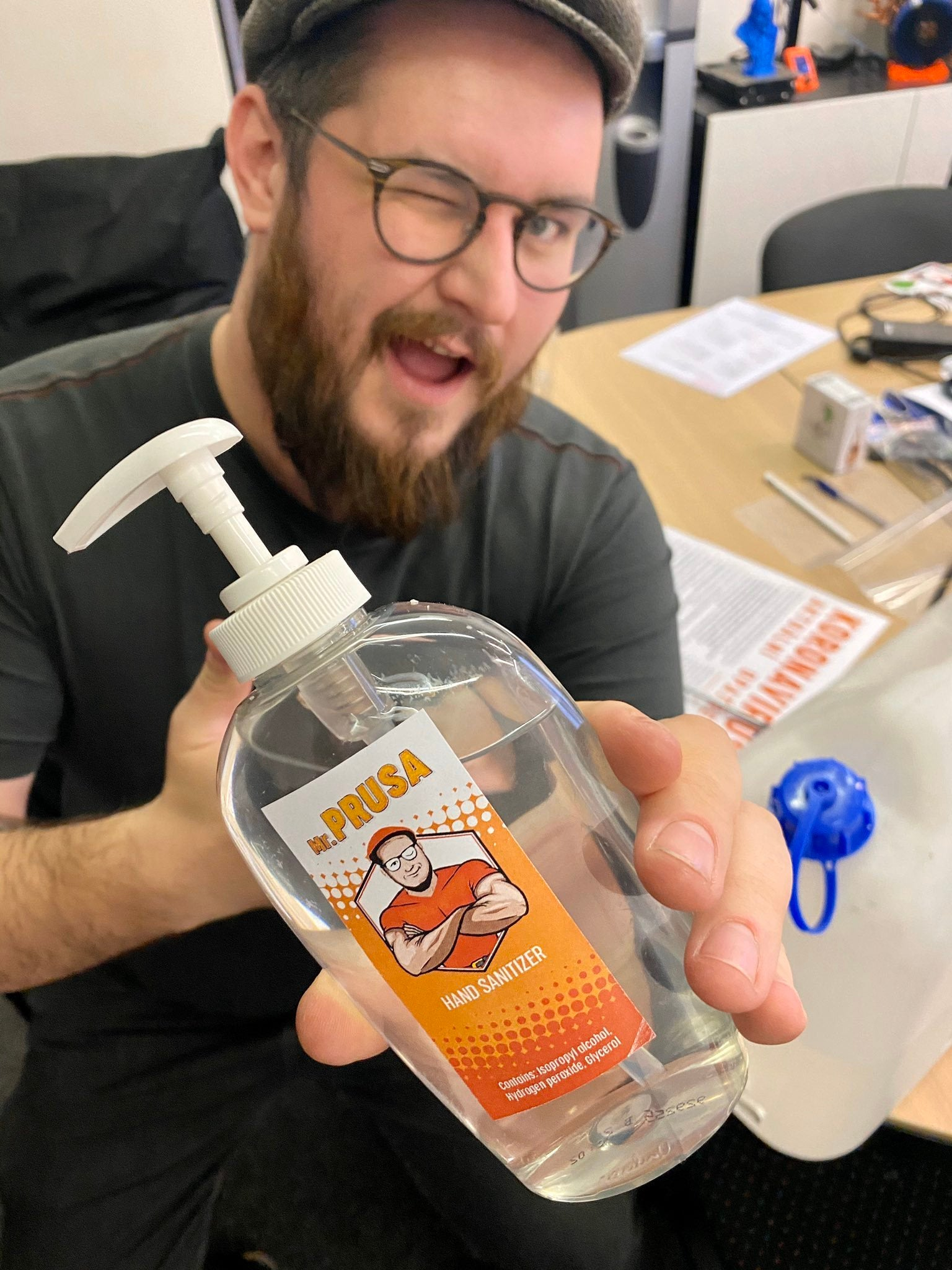 Prusa Research makes hand sanitizer to meet marketing demand