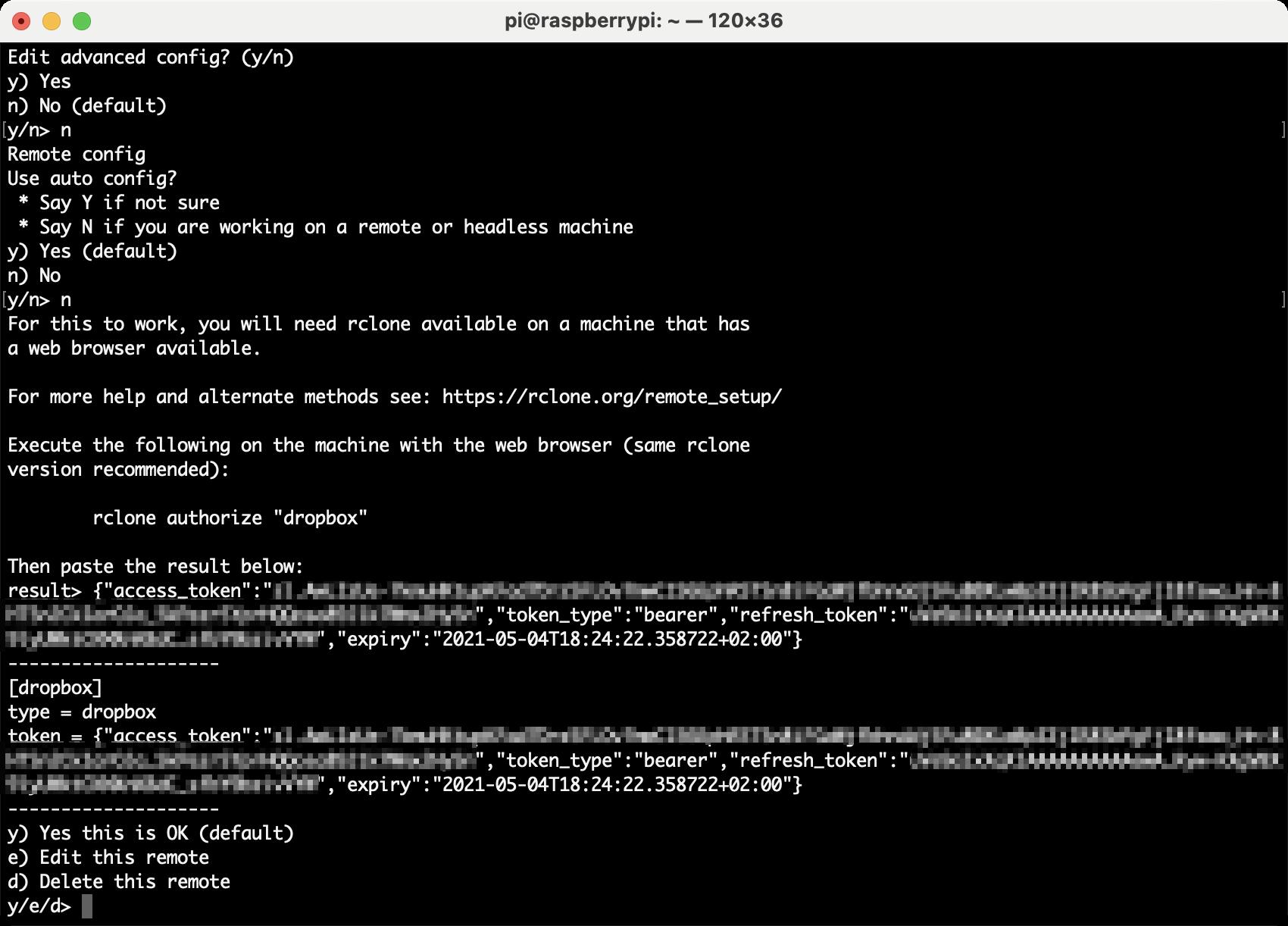 Authorizing Dropbox using rclone
