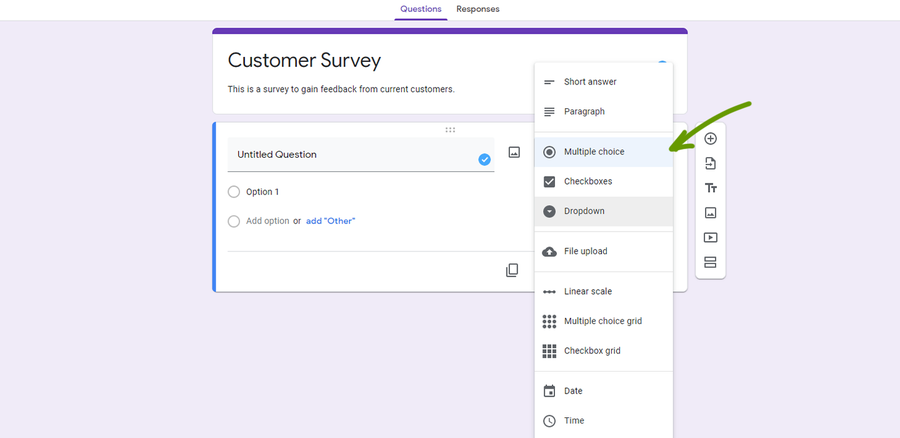 create a survey google forms change the question type