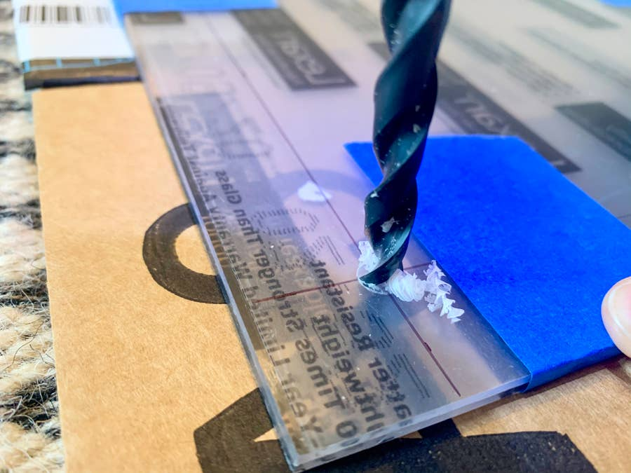 Drill holes through the polycarbonate sheets