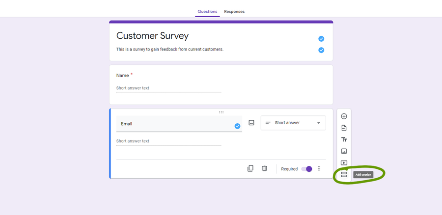 create a survey google forms add new section