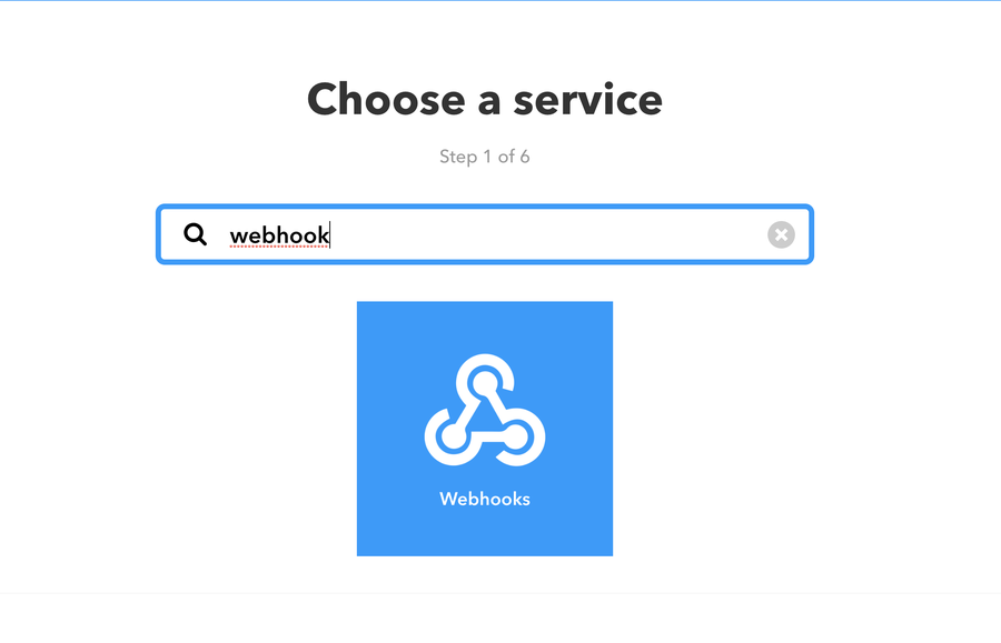 Choose the webhooks service on IFTTT.