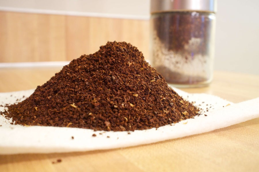 close up of coffee grounds in a pile