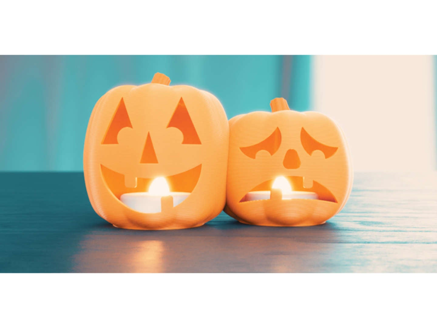 Halloween jack-o-lantern LED tea lights