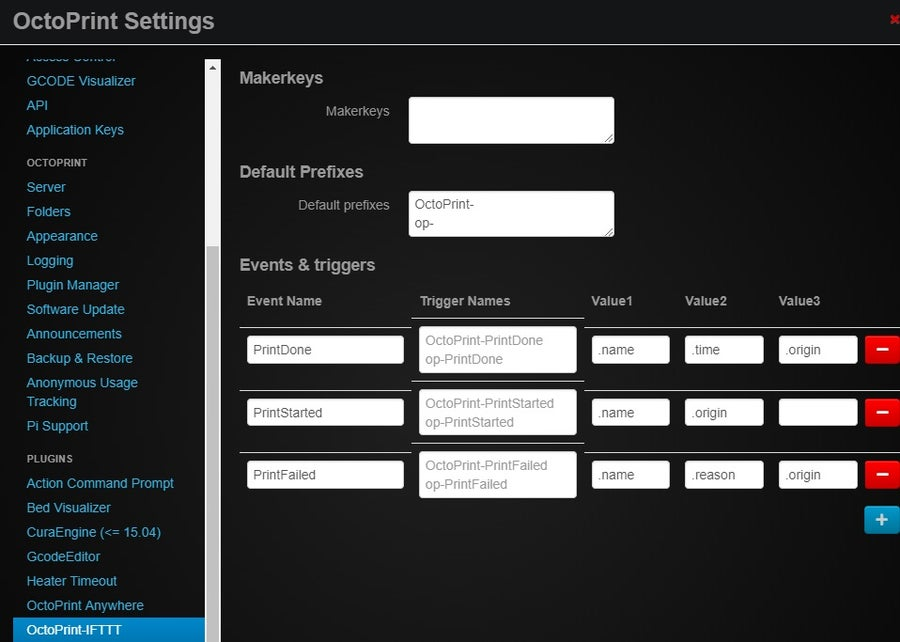 IFTTT OctoPrint Plugin screenshot
