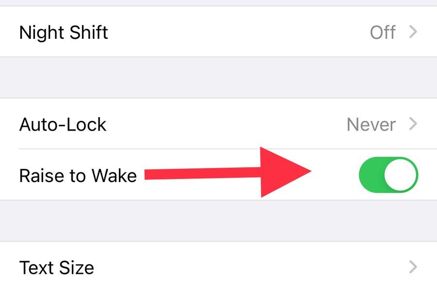 Raise to Wake toggle