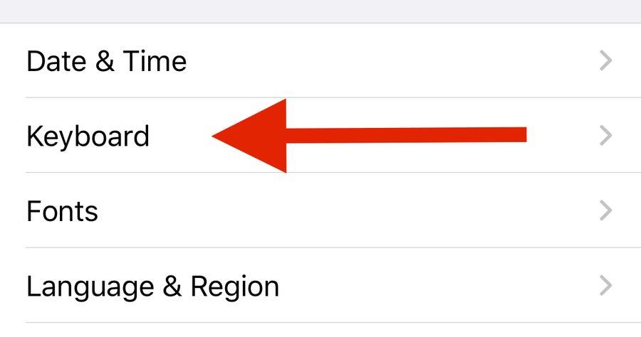 Arrow to iPhone Keyboard