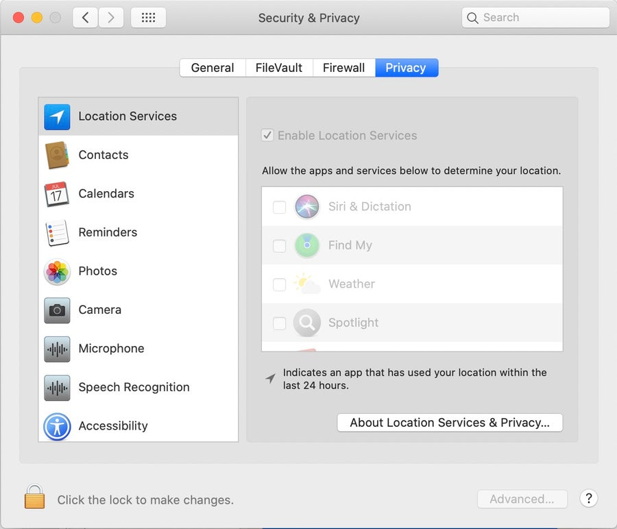Security & Privacy settings