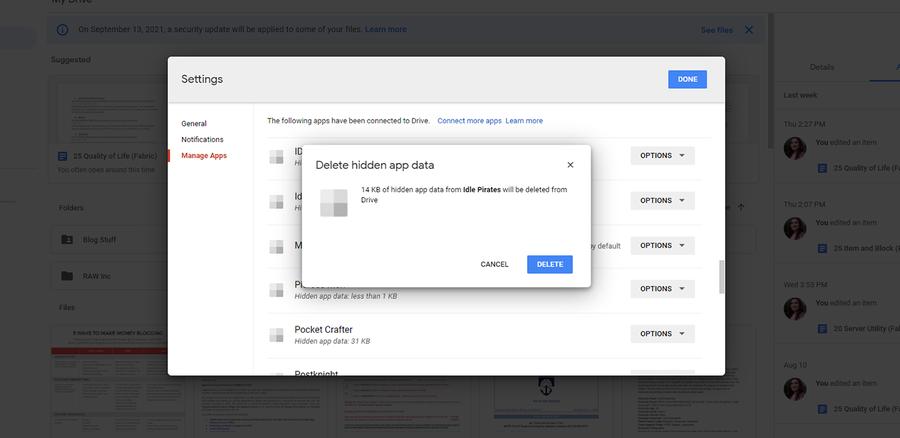 how to delete hidden app data google drive