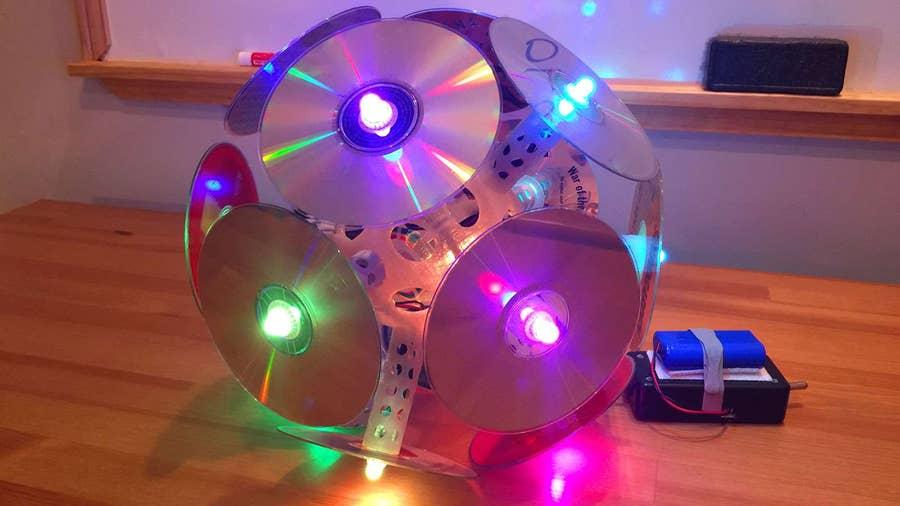 The Compact Disc-O: My LED Disco Ball Music Festival Totem!
