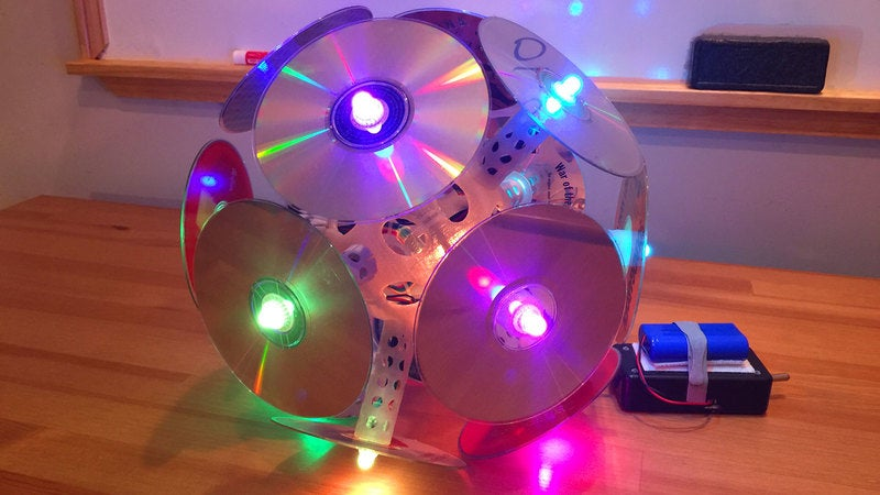 The Compact Disc-o: My LED disco ball music festival totem!
