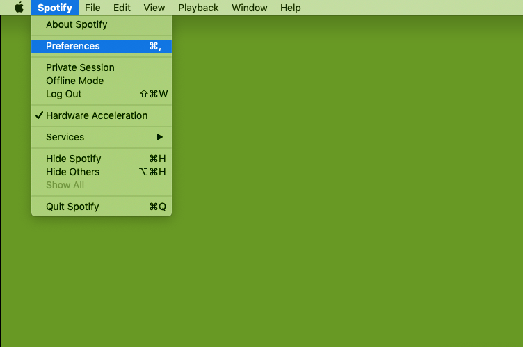 Opening MacOS preferences screenshot
