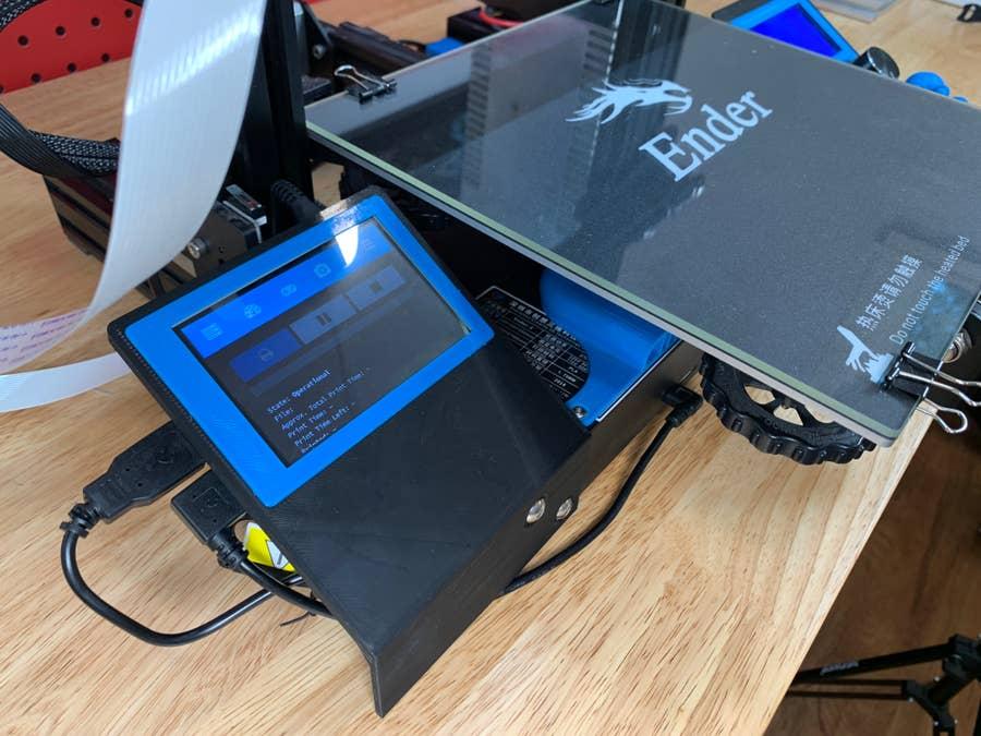 Ender 3 OctoPrint touchscreen close-up shot