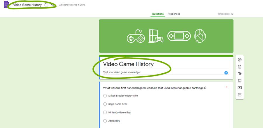 google forms create a quiz name description