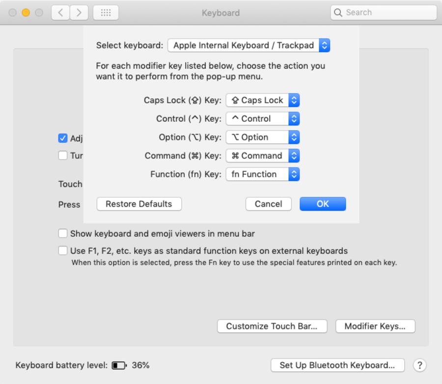 MacOS Modifier Keys settings