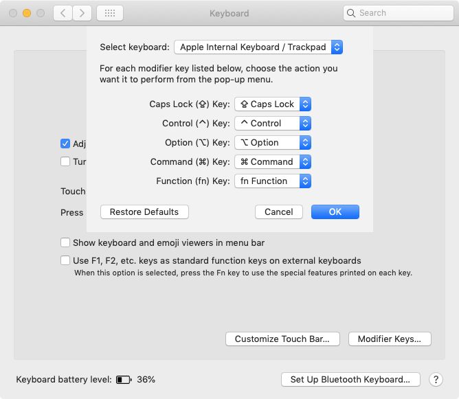 MacOS Modifier Keys settings