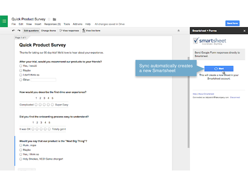 google forms addon smartsheet integration