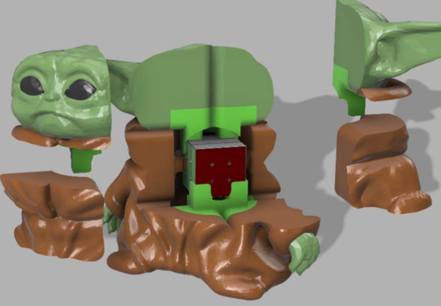 3D Printed Baby Yoda Rubik's Cube