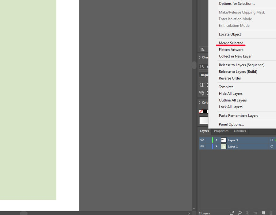 Illustrator Merge Layers