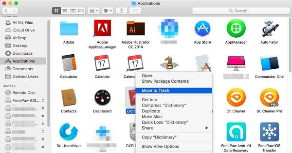 Move App to Trash on Mac