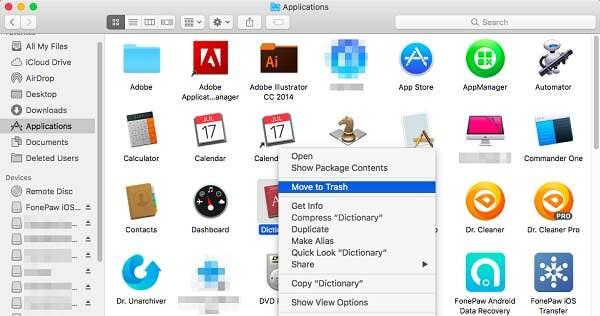 Move App to Trash on Mac